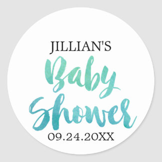 Watercolor Calligraphy Baby Shower Classic Round Sticker