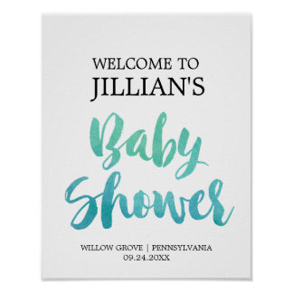 Watercolor Calligraphy Baby Shower Welcome Poster