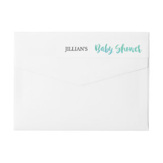Watercolor Calligraphy Baby Shower Wrap Around Label