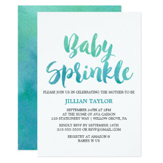 Watercolor Calligraphy Baby Sprinkle Card