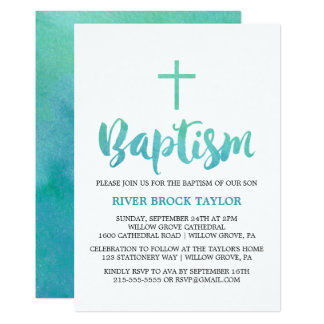 Watercolor Calligraphy Baptism Card