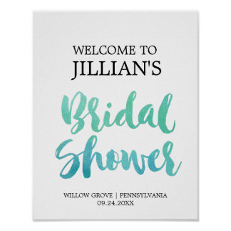 Watercolor Calligraphy Beach Bridal Shower Welcome Poster
