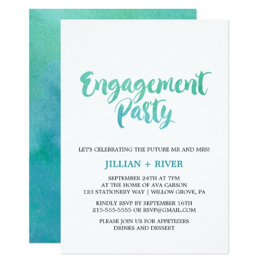 Watercolor Calligraphy Beach Engagement Party Card