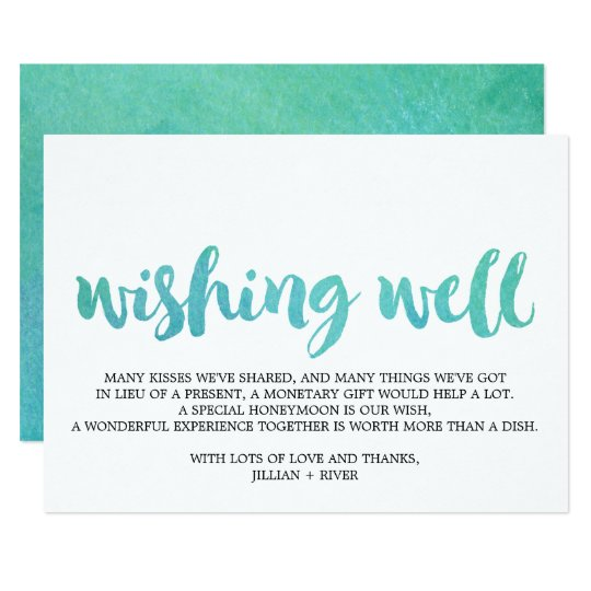 Watercolor Calligraphy Beach Wedding Wishing Well Card