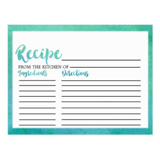 Watercolor Calligraphy Bridal Shower Recipe Cards