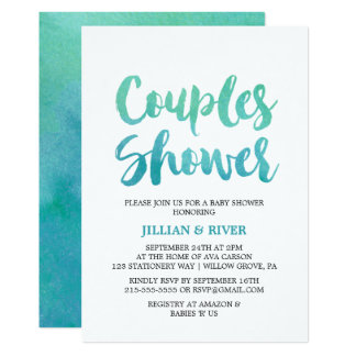 Watercolor Calligraphy Couples Shower Card