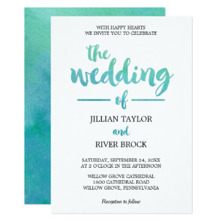 Watercolor Calligraphy Destination Beach Wedding Card