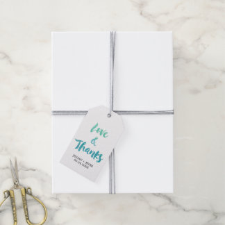"""Watercolor Calligraphy Destination """"Love & Thanks"""" Pack Of Gift Tags"""