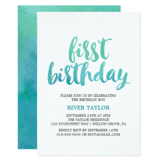 Watercolor Calligraphy First Birthday Party Card