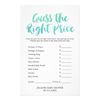 Watercolor Calligraphy Guess the Right Price Game Flyer