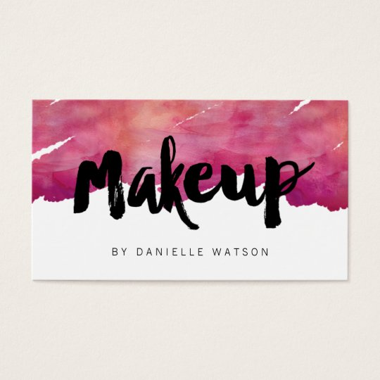 Watercolor calligraphy makeup artist business card zazzle for Makeup artist quotes for business cards