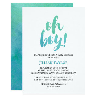 Watercolor Calligraphy Oh Boy Baby Shower Card