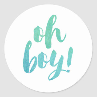 Watercolor Calligraphy Oh Boy Baby Shower Classic Round Sticker