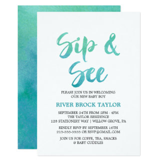 Watercolor Calligraphy Sip and See Card