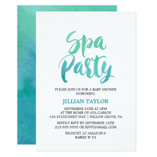 Watercolor Calligraphy Spa Party Card