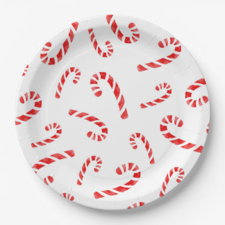 Watercolor Candy Cane Pattern Paper Plate
