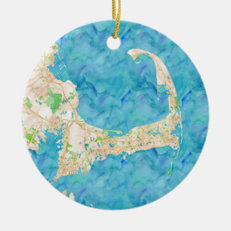 Watercolor Cape Cod Map Round Ceramic Ornament