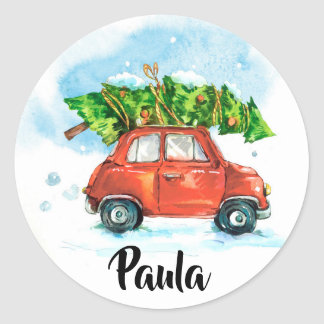 Watercolor Car with Christmas tree Classic Round Sticker