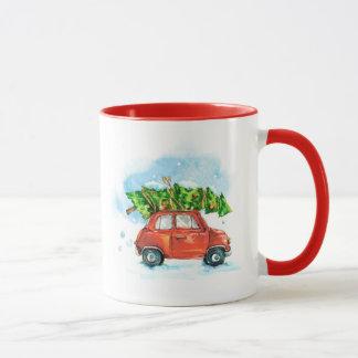 Watercolor car with Christmas tree on top Mug