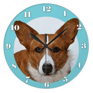 Watercolor Cardigan Welsh Corgi Portrait Large Clock