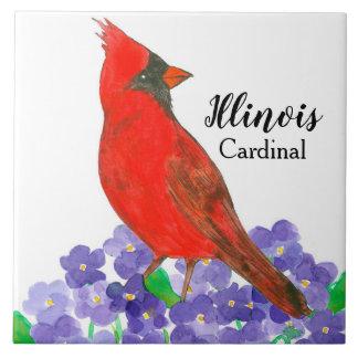 Watercolor Cardinal Bird Purple Violets Tile