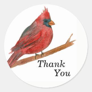 Watercolor Cardinal Bird Round Sticker