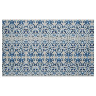 Watercolor Caribbean Island Vintage Tile Ocean Fabric