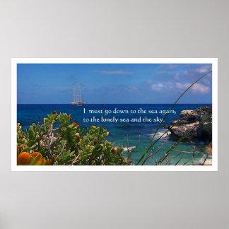Watercolor Caribbean Sea Poetry Poster Print