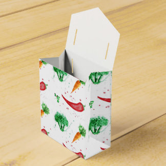 Watercolor carrots, broccoli and red peppers wedding favor boxes