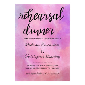 Watercolor Casual Script Rehearsal Dinner Wedding Card