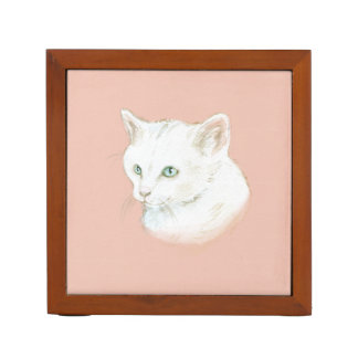 Watercolor Cat Art Desk Organizer