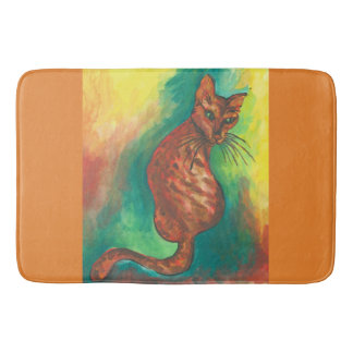 watercolor cat bathmat