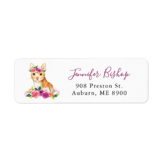 Watercolor Cat Floral Return Address Label I