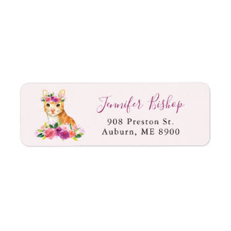 Watercolor Cat Floral Return Address Label II