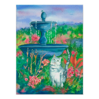 Watercolor Cat Fountain Garden Poster