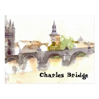 Watercolor Charles Bridge Postcard