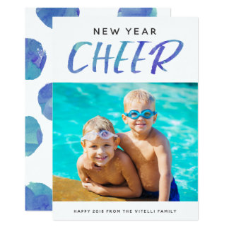 Watercolor Cheer Photo New Year Card | Pool Blue