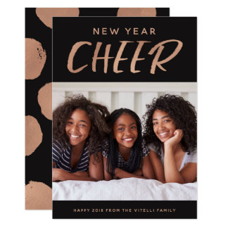 Watercolor Cheer Photo New Year Card | Rose Gold