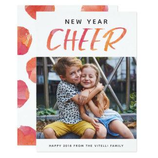 Watercolor Cheer Photo New Year Card | Sunshine