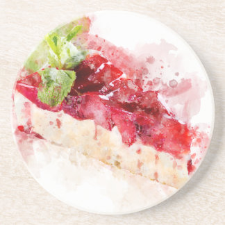 Watercolor cheesecake coaster