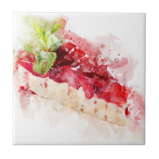 Watercolor cheesecake tile