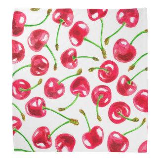 Watercolor cherries pattern bandana