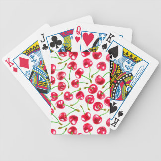 Watercolor cherries pattern bicycle playing cards