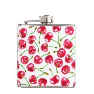 Watercolor cherries pattern hip flask