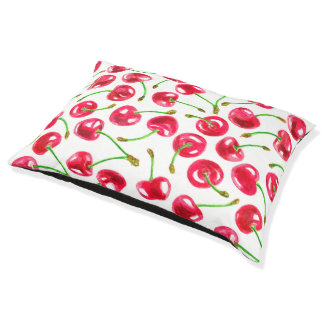 Watercolor cherries pattern large dog bed