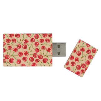 Watercolor cherries pattern wood USB flash drive