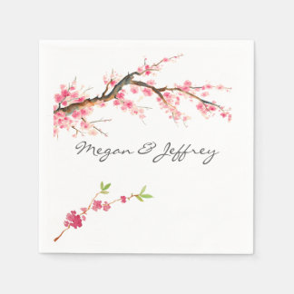 Watercolor Cherry Blossom Disposable Napkins
