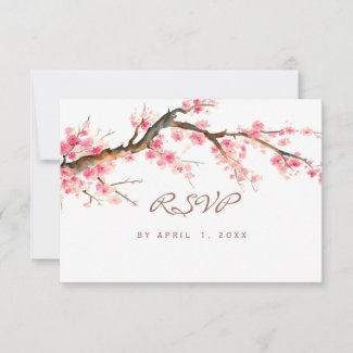 Watercolor cherry blossom rsvp