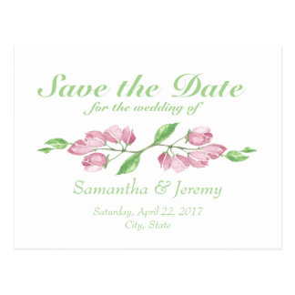 Watercolor Cherry Blossom Save the Date Floral Postcard