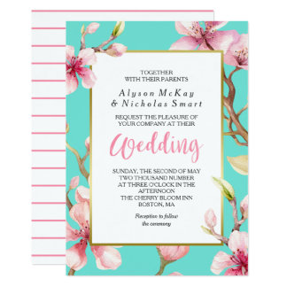 Watercolor Cherry Blossom Spring Wedding Card